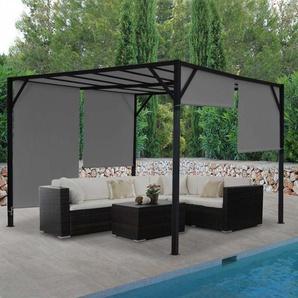 Pergola Baia, Garten Pavillon Terrassenberdachung, stabiles 6cm-Stahl-Gestell + Schiebedach grau ~ 3x3m