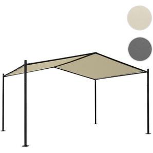 Pergola HWC-A42, Garten Pavillon Terrassenberdachung, stabiles 6cm Stahl-Gestell 4x3m ~ creme