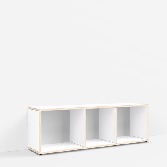 Personalisierbares Schallplattenregal aus Massivholz in Weiß. Moderne Designer-Möbel nach Maß.