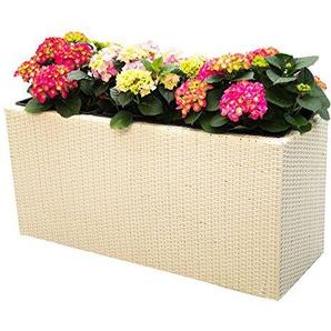 Pflanztopf Blumentopf Pflanzkasten Blumenkasten Polyrattan Rechteck LxBxH 82x30x50cm weiß