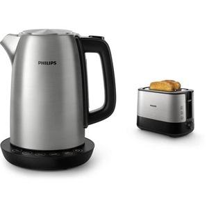 Philips HD9359/90 Wasserkocher aus Edelstahl für Tee bis Babynahrung (2200 Watt, 1,7 Liter, Warmhaltefunktion) & HD2637/91 Toaster, Kunststoff, Schwarz/Edelstahl