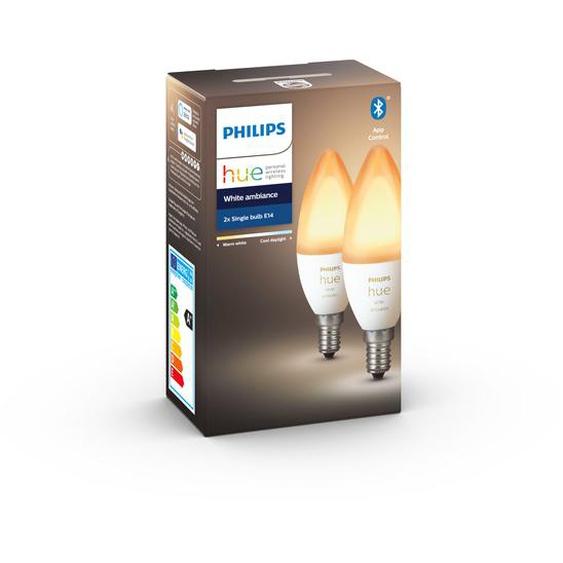 Philips Hue LED-Lampe Hue White Ambiance E14 6 W Doppelpack