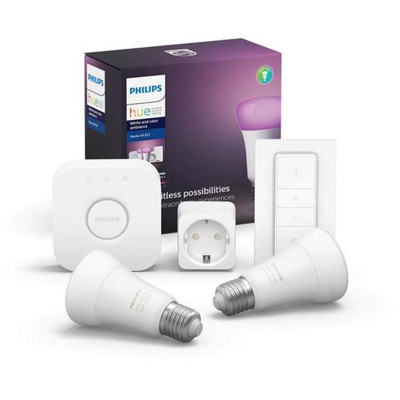 Philips Hue Starter-Set Hue White & Color Ambiance inkl. 2 x LED-Lampe E27 806 lm, Dimmschalter, SmartPlug & Bridge