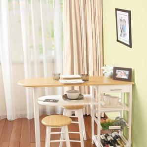 Phoenix 645101WE Küchenbar mit Stüheln, buche, Weiss, 37x120x89 cm