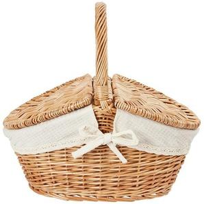 Picknickkorb ¦ holzfarben ¦ Leinen, Weide ¦ Maße (cm): B: 33 H: 32 T: 25 Aufbewahrung  Körbe - Höffner