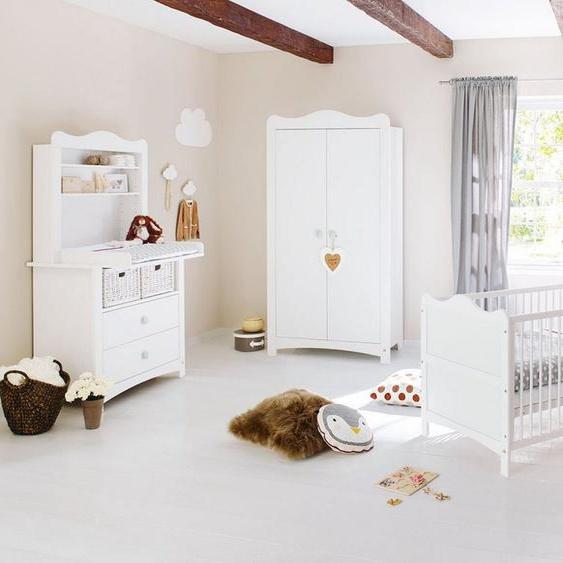 Pinolino® Babyzimmer-Komplettset »Florentina«, (Set, 4-St), breit mit Reglaufsatz; mit Kinderbett, Schrank und Wickelkommode; Made in Europe