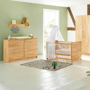 Pinolino® Babyzimmer-Komplettset »Natura«, (Set, 3-St), extrabreit; mit Kinderbett, Schrank und Wickelkommode; Made in Europe