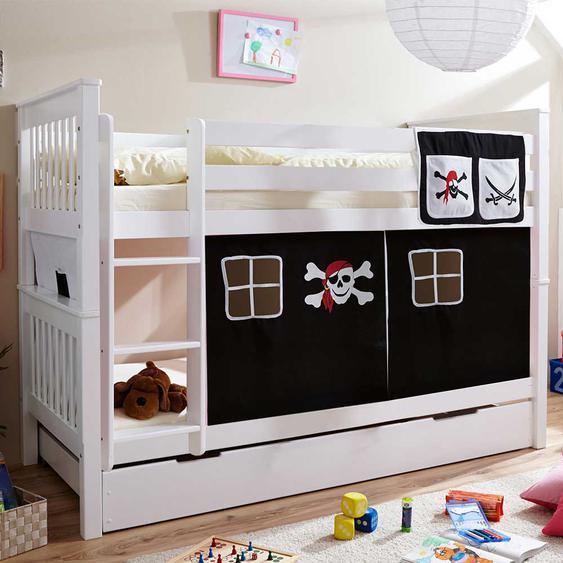 Piraten Stockbett in Weiß und Schwarz Vorhang und Ausziehbett