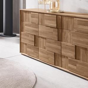 Places of Style Bank Trond, aus Eiche massiv, mit 2 Türen B/H/T: 86 cm x 46 42 beige Schuhschränke Garderoben Nachhaltige Möbel