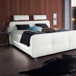Boxspringbett, weiß, 180x200 cm, Kunstleder, gepolstert, , , Härtegrad 2, Places of Style