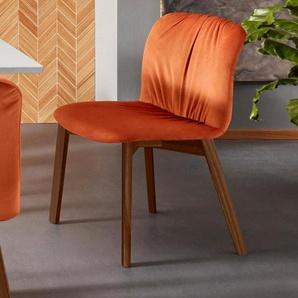 Places of Style Esszimmerstuhl »Effie« (Set, 2 Stück), aus einem schönen massivem Buchenholzgestell, mit weichem Velvet Bezug