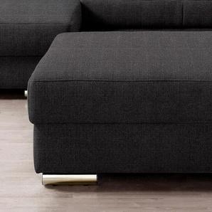 Places of Style Hocker 0, Struktur fein schwarz Polsterhocker Nachhaltige Möbel