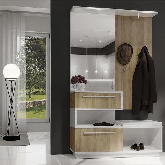 Places of Style Kompaktgarderobe Solo, hochwertig UV lackiert, mit Sitzkissen, Soft-Close-Funktion B/H/T: 130 cm x 207 35 cm, 1 braun Kompaktgarderoben Garderoben
