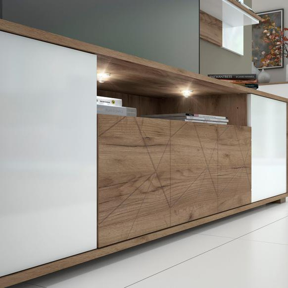 TV-Board »Stela«, 180x48.4x46.5 cm (BxHxT), Places of Style, Material Holz, Spanplatte, Metall, lackiert, Push to open-Funktion