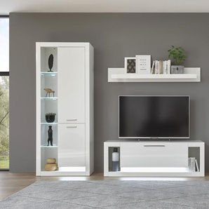 Places of Style Wohnzimmer-Set Meran, (4 St.), im modernen Design B/H/T: 350 cm x 196 43 weiß Hochglanz Wohnwände Schränke