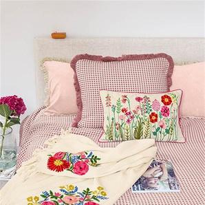 Plaid bestickte Blumen - Rot/Grün/Blau/Dunkelgrün/Gelb/Weiß - 100 % Baumwolle - Wolldecken & Plaids