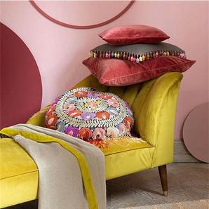 Plaid gelbe Samtbordüre - bunt - 100 % Leinen - Wolldecken & Plaids