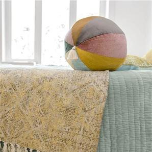 Plaid mit Golddruck - bunt - 100 % Baumwolle - Wolldecken & Plaids