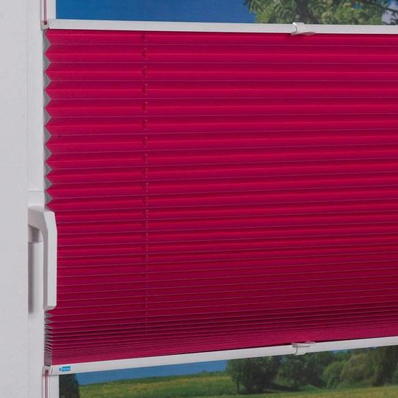 Plissee, Klemmfix Pisa, K-HOME, verdunkelnd, ohne Bohren, verspannt 4, H/B: 130/70 cm, zweiseitig verschiebbar lila Plissees Bohren Rollos Jalousien Plissee