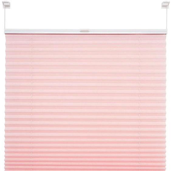 Plissee, Pastell, Liedeco, Lichtschutz, ohne Bohren, verspannt 1, H/B: 150/45 cm, zweiseitig verschiebbar rosa Plissees Bohren Rollos Jalousien Plissee