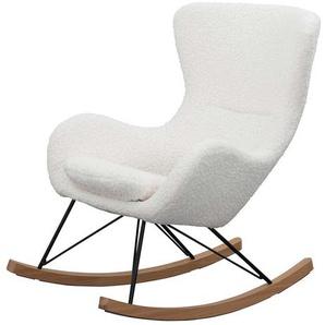 Plüsch Sessel in Weiß Schaukelfunktion