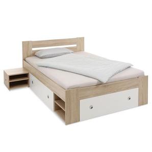 Pol Power Bett mit Nachttischen ,Eiche ,Kunststoff