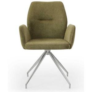 Polster Drehstuhl für Esstisch Oliv Grün und Silber