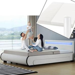ArtLife Polsterbett Bilbao 180 x 200 cm weiß mit Kaltschaummatratze Matratze Bett Einzelbett
