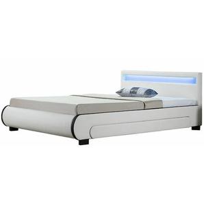 Polsterbett Bilbao 140 x 200 cm Bettgestell mit Bettkästen, LED Beleuchtung & Lattenrost Kunstleder Bett weiß Jugendbett | ArtLife
