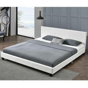 ArtLife Polsterbett Barcelona 140 x 200 cm weiß Einzelbett mit Kaltschaummatratze