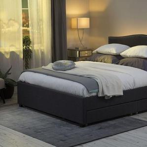 Polsterbett grau mit Bettkasten LED-Beleuchtung weiß 160 x 200 cm MONTPELLIER