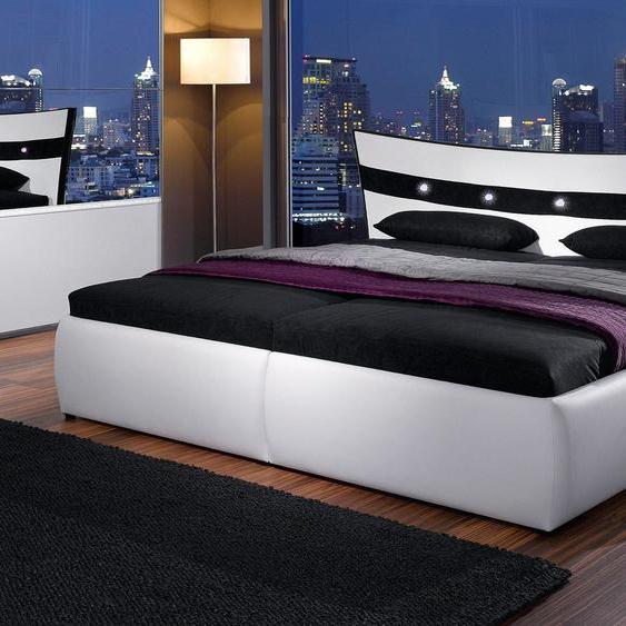 Polsterbett, H2, weiß, Material Polyester / Polypropylen, hapo, mit Bettkasten