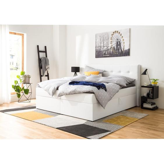 Polsterbett KiYDOO IV 180x200 cm Kunstleder Weiß mit Bettkästen/Matratze/Kaltschaumtopper
