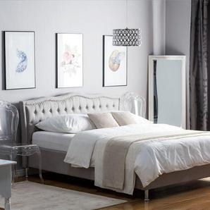 Polsterbett grau mit Bettkasten hochklappbar 180 x 200 cm METZ
