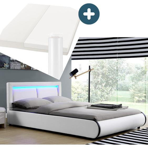 Polsterbett Murcia 180 x 200 cm Komplett-Set mit Matratze, Lattenrost, LED-Licht, Kopfteil - Kunstleder Bett - groß, massiv, modern & weiß | ArtLife
