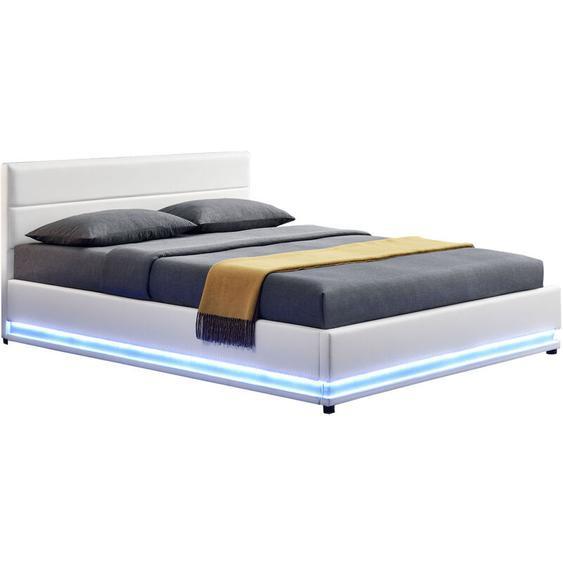Polsterbett Toulouse 180 x 200cm mit LED, Bettkasten und Kaltschaummatratze - weiß - Artlife