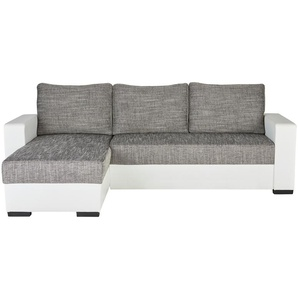 Polsterecke Weiß/grau   grau   237 cm   87 cm   156 cm  