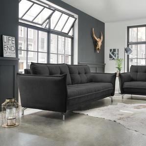 Polstergarnitur 2-tlg. in schwarzem Stoff bezogen bestehend aus 2,5-Sitzer und 3-Sitzer Sofa