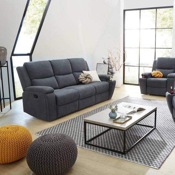 Polstergarnitur 3-teilig in grau-blauem Webstoff bezogen mit Liegefunktion bestehend aus Fernsehsessel, 2-Sitzer und 3-Sitzer Sofa