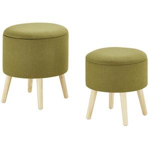 Polsterhocker, 2er-Set | grün | 47 cm | Möbel Kraft