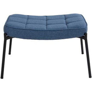 Polsterhocker in Blau Webstoff Skandi Design