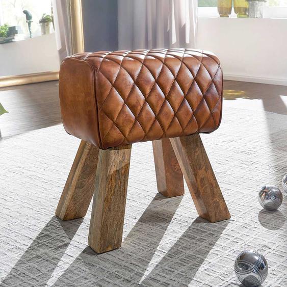Polsterhocker in Cognac Braun Echtleder rustikalen Design