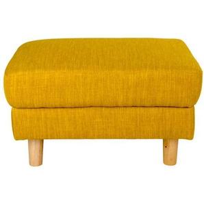 Polsterhocker in Gelb Webstoff Skandi Design