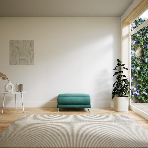 Polsterhocker Samt Eisblau - Eleganter Polsterhocker: Hochwertige Qualität, einzigartiges Design - 80 x 42 x 60 cm, Individuell konfigurierbar