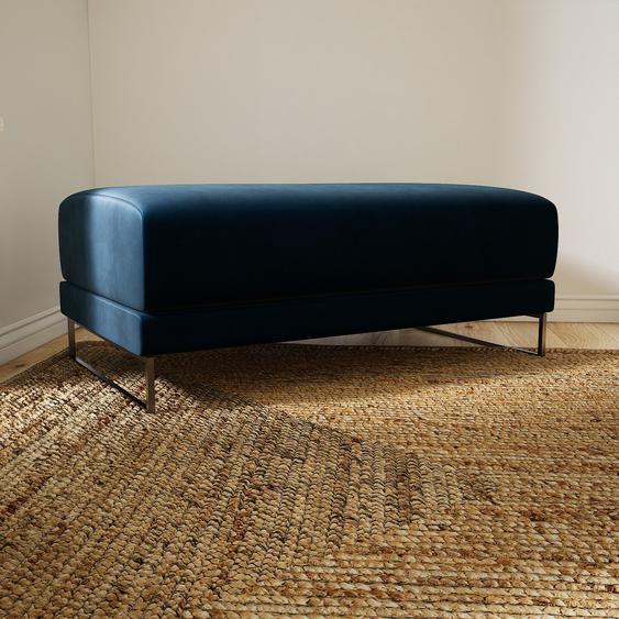 Polsterhocker Samt Nachtblau - Eleganter Polsterhocker: Hochwertige Qualität, einzigartiges Design - 100 x 42 x 60 cm, Individuell konfigurierbar