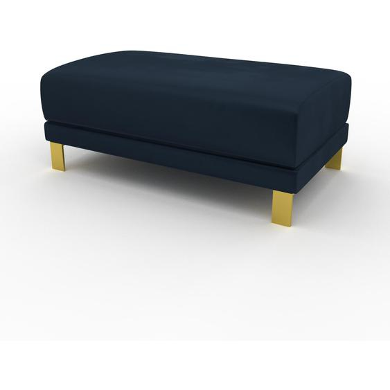 Polsterhocker Samt Nachtblau, mit Gold - Eleganter Polsterhocker: Hochwertige Qualität, einzigartiges Design - 100 x 42 x 60 cm, Individuell konfigurierbar