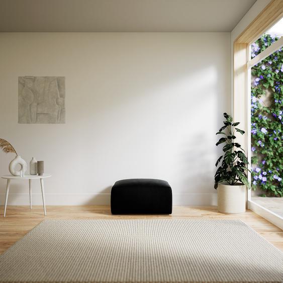 Polsterhocker Samt Schwarz - Eleganter Polsterhocker: Hochwertige Qualität, einzigartiges Design - 80 x 42 x 64 cm, Individuell konfigurierbar