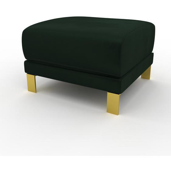 Polsterhocker Samt Tannengrün, mit Gold - Eleganter Polsterhocker: Hochwertige Qualität, einzigartiges Design - 60 x 42 x 60 cm, Individuell konfigurierbar