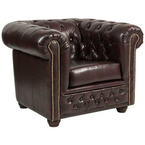 Polstersessel in Braun Chesterfield Optik