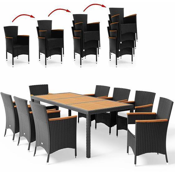 Poly Rattan 8+1 Sitzgruppe Stapelbare Stühle 7cm dicke Auflagen Gartentisch Armlehnen Holz Gartenmöbel Sitzgarnitur Garten Set - Schwarz - Casaria